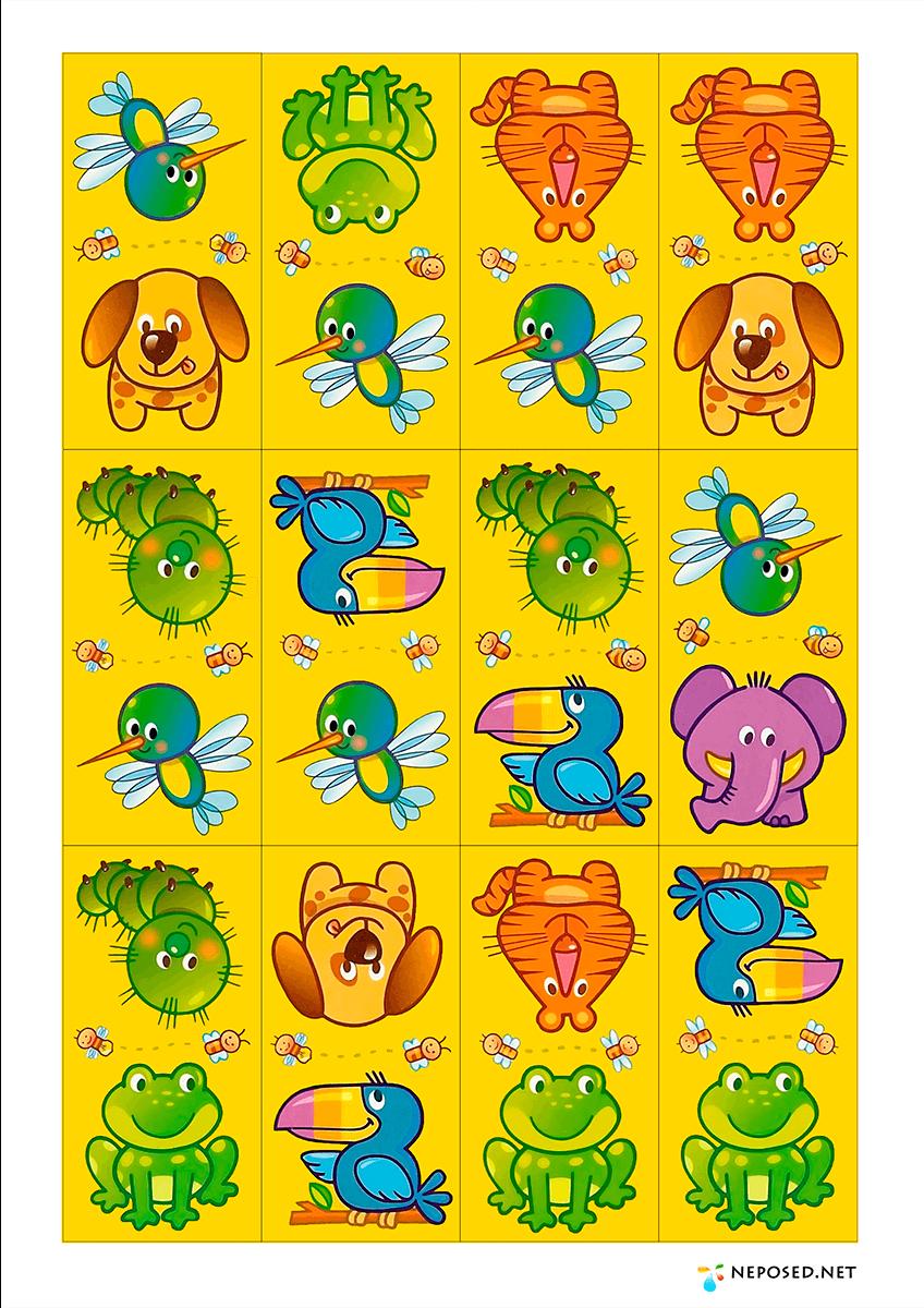Домино картинки для детей распечатать цветные