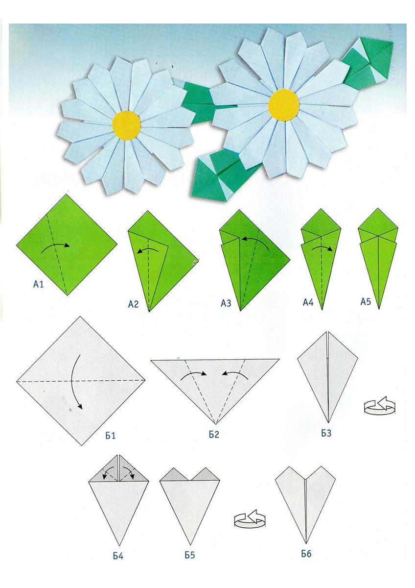 Днем рождения, цветок оригами в открытку