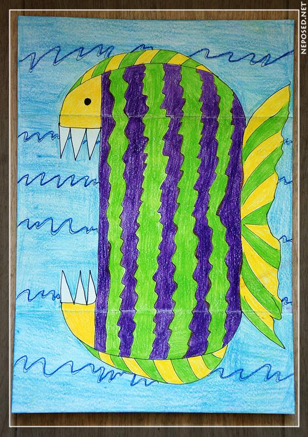 рисунок гармошка или поделка голодная рыбка троллфейс, новые прикольные
