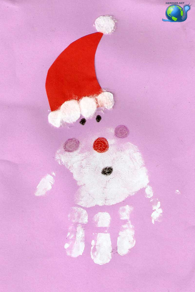 Дед мороз из ладошки открытка, марта